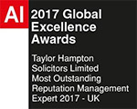 AI 2018 Global Excellence Awards - Taylor Hampton Solicitors - Most Outstanding Reputation Management Expert 2017 - UK