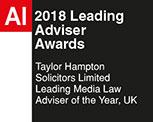 AI 2018 Leading Adviser Awards - Taylor Hampton Solicitors - Leading Media Law Advisor of the Year, UK