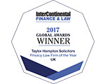 InterContinental Finance & Law 2017 Global Awards Winner - Taylor Hampton Solicitors - Privacy Law Firm of the Year - UK