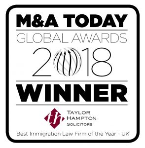 M&A Today Global Awards 2018 Winner - Taylor Hampton Solicitors - Best Immigration Law Firm of the Year - UK