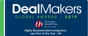 Deal Maker Global Awards 2019 - Taylor Hampton Highly Recommended Immigration Law Firm of the Year - UK
