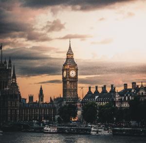Evening sepia tinted photograph of Big Ben in London, UK